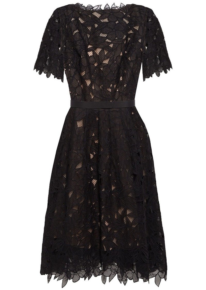 Oscar De La Renta Woman Belted Guipure Lace And Mesh Dress Black