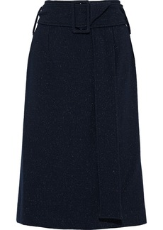 Oscar De La Renta Woman Belted Metallic Wool-blend Crepe Skirt Midnight Blue