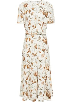 Oscar De La Renta Woman Belted Pleated Floral-print Crepe Midi Dress Ivory