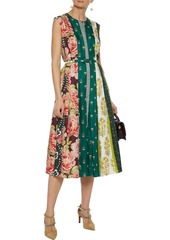 Oscar De La Renta Woman Belted Pleated Printed Silk-twill Midi Dress Emerald