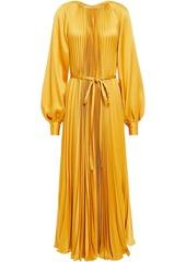 Oscar De La Renta Woman Belted Pleated Satin-crepe Maxi Dress Saffron