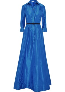 Oscar De La Renta Woman Belted Pleated Silk-taffeta Gown Blue