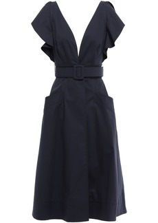 Oscar De La Renta Woman Belted Ruffled Cotton-blend Twill Dress Navy