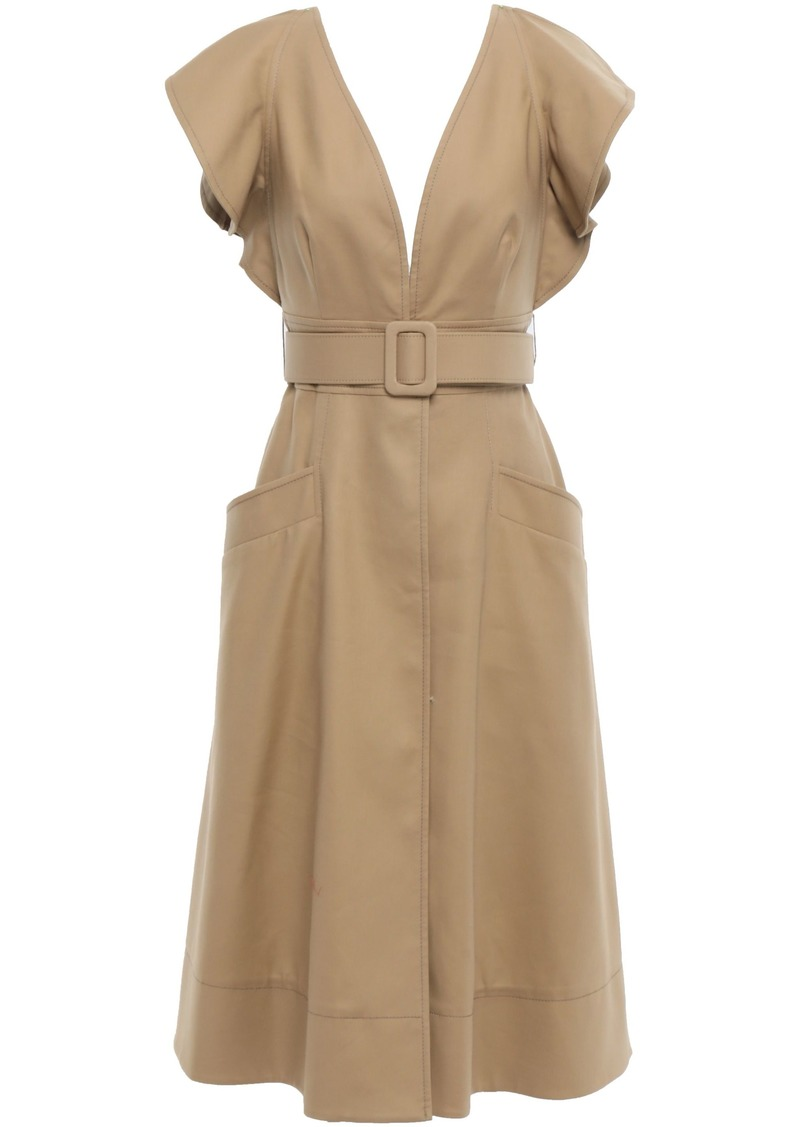 Oscar De La Renta Woman Belted Ruffled Cotton-twill Dress Sand
