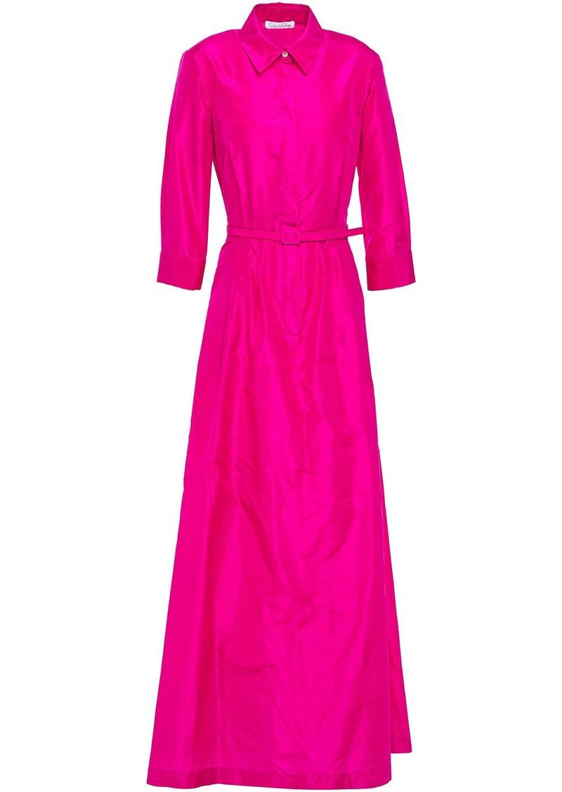 Oscar De La Renta Woman Belted Silk-taffeta Gown Fuchsia