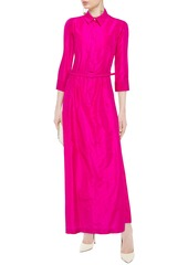 Oscar De La Renta Woman Belted Silk-taffeta Gown Tomato Red