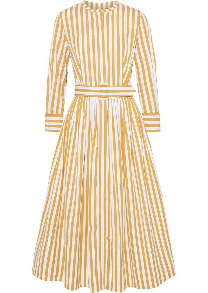Oscar De La Renta Woman Belted Striped Cotton-poplin Midi Dress Marigold
