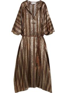 Oscar De La Renta Woman Belted Striped Sillk-blend Lamé Hooded Kaftan Brass