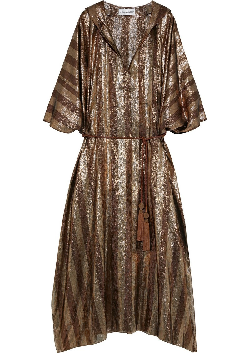 Oscar De La Renta Woman Belted Striped Sillk-blend Lamé Hooded Kaftan Brass