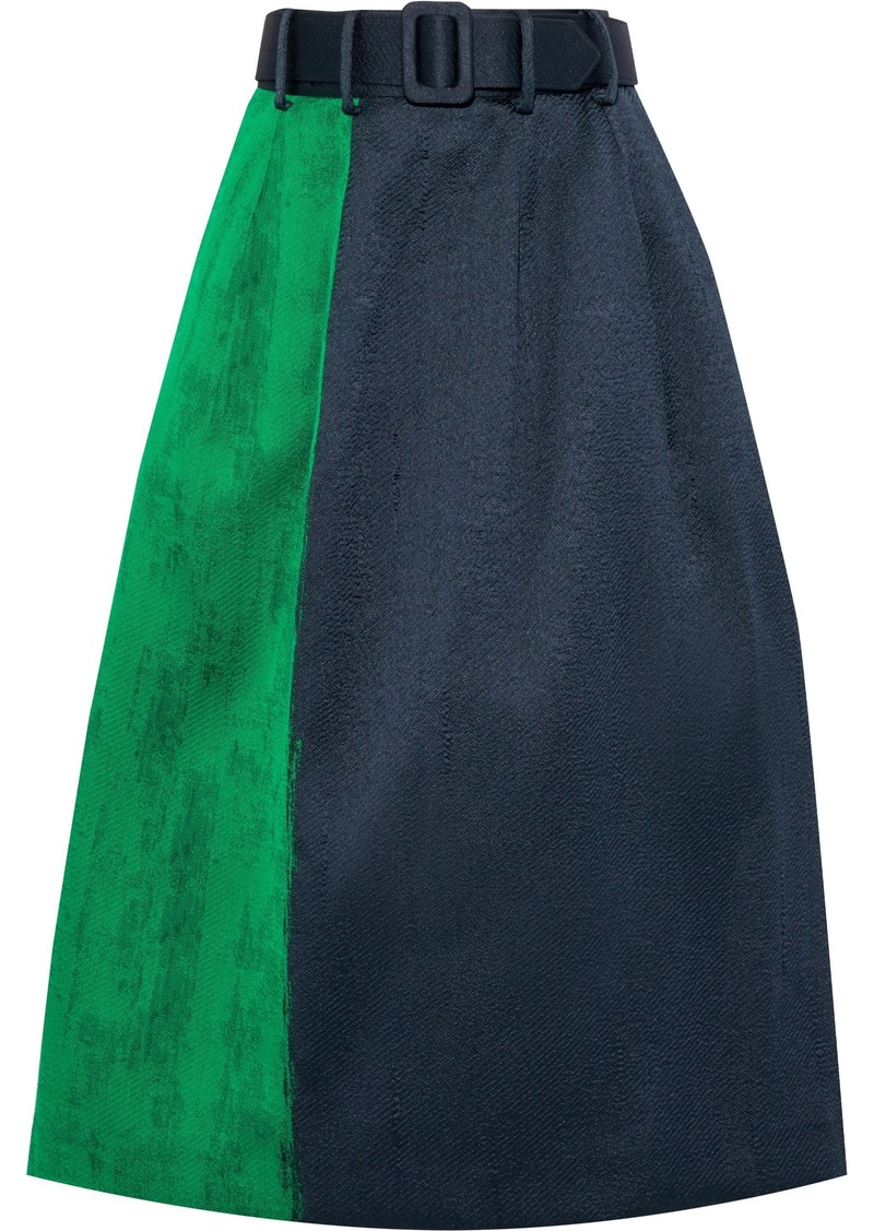 Oscar De La Renta Woman Belted Two-tone Jacquard Midi Skirt Midnight Blue