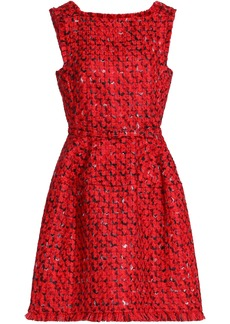 Oscar De La Renta Woman Belted Wool And Cotton-blend Bouclé-tweed Mini Dress Red