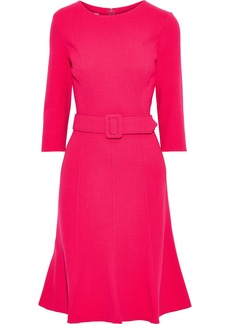 Oscar De La Renta Woman Belted Wool-blend Crepe Dress Bright Pink