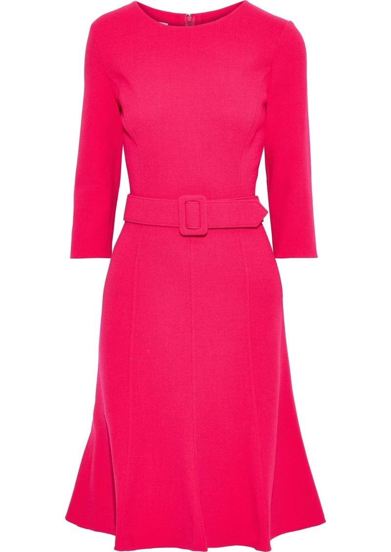 Oscar De La Renta Woman Belted Wool-blend Crepe Dress Bright Pink