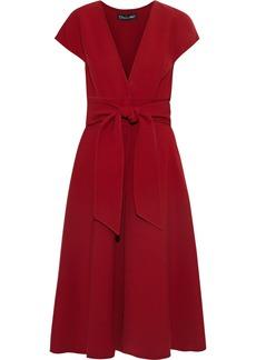 Oscar De La Renta Woman Belted Wool-blend Crepe Dress Claret