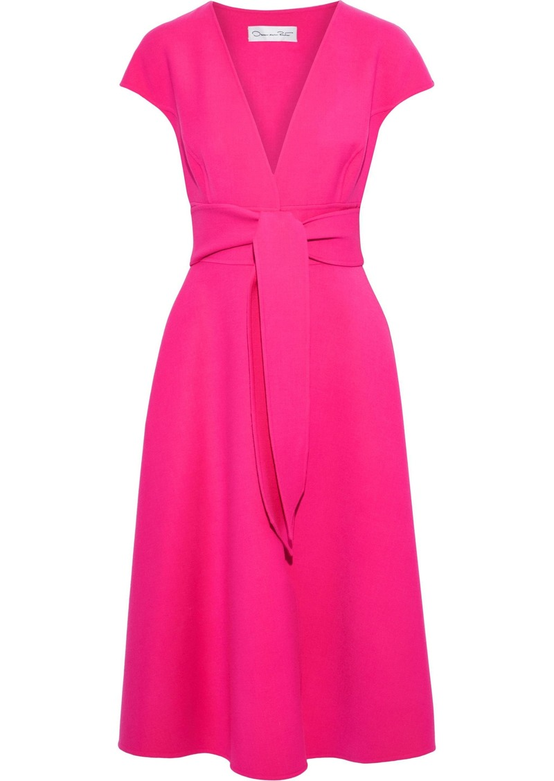 Oscar De La Renta Woman Belted Wool-blend Crepe Dress Pink