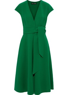 Oscar De La Renta Woman Belted Wool-blend Crepe Dress Green
