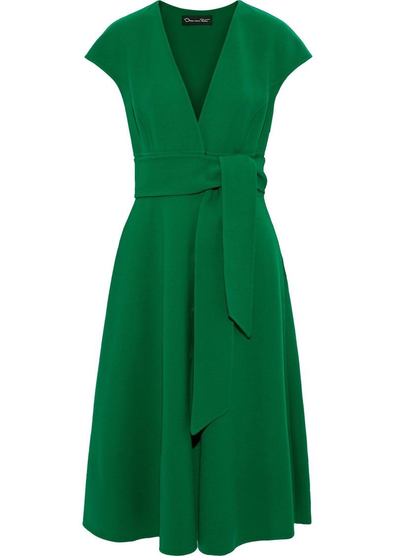 Oscar De La Renta Woman Belted Wool-blend Crepe Dress Green