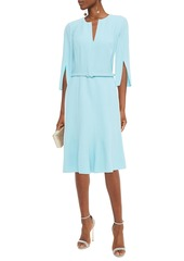 Oscar De La Renta Woman Belted Wool-blend Crepe Dress Turquoise