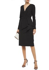 Oscar De La Renta Woman Belted Wool-blend Dress Black