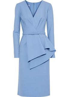 Oscar De La Renta Woman Belted Wool-blend Dress Light Blue