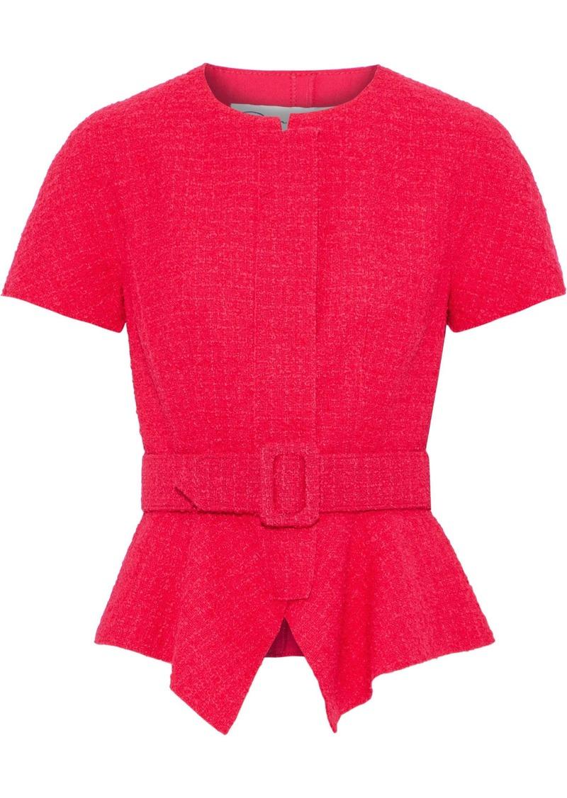 Oscar De La Renta Woman Belted Wool-blend Tweed Peplum Top Crimson