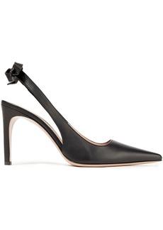 Oscar De La Renta Woman Bow-detailed Leather Slingback Pumps Black