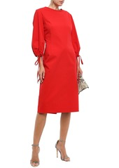Oscar De La Renta Woman Tie-detailed Stretch-cotton Poplin Dress Tomato Red