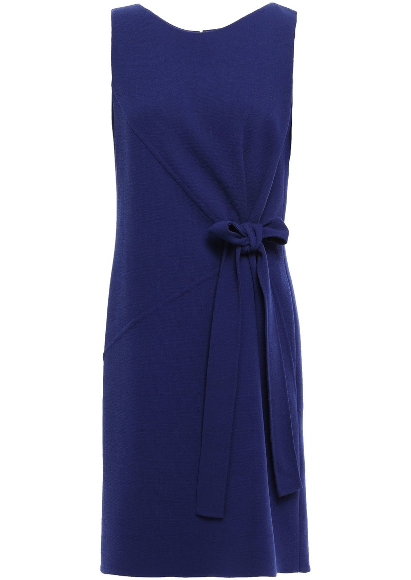 Oscar De La Renta Woman Bow-detailed Wool-blend Crepe Dress Indigo