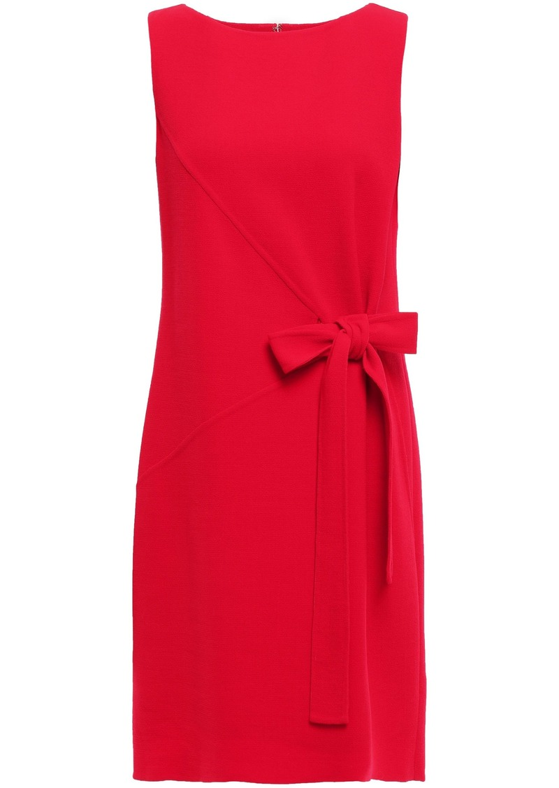 Oscar De La Renta Woman Bow-detailed Wool-blend Crepe Dress Red