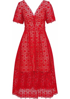 Oscar De La Renta Woman Bow-embellished Broderie Anglaise Cotton Midi Dress Red