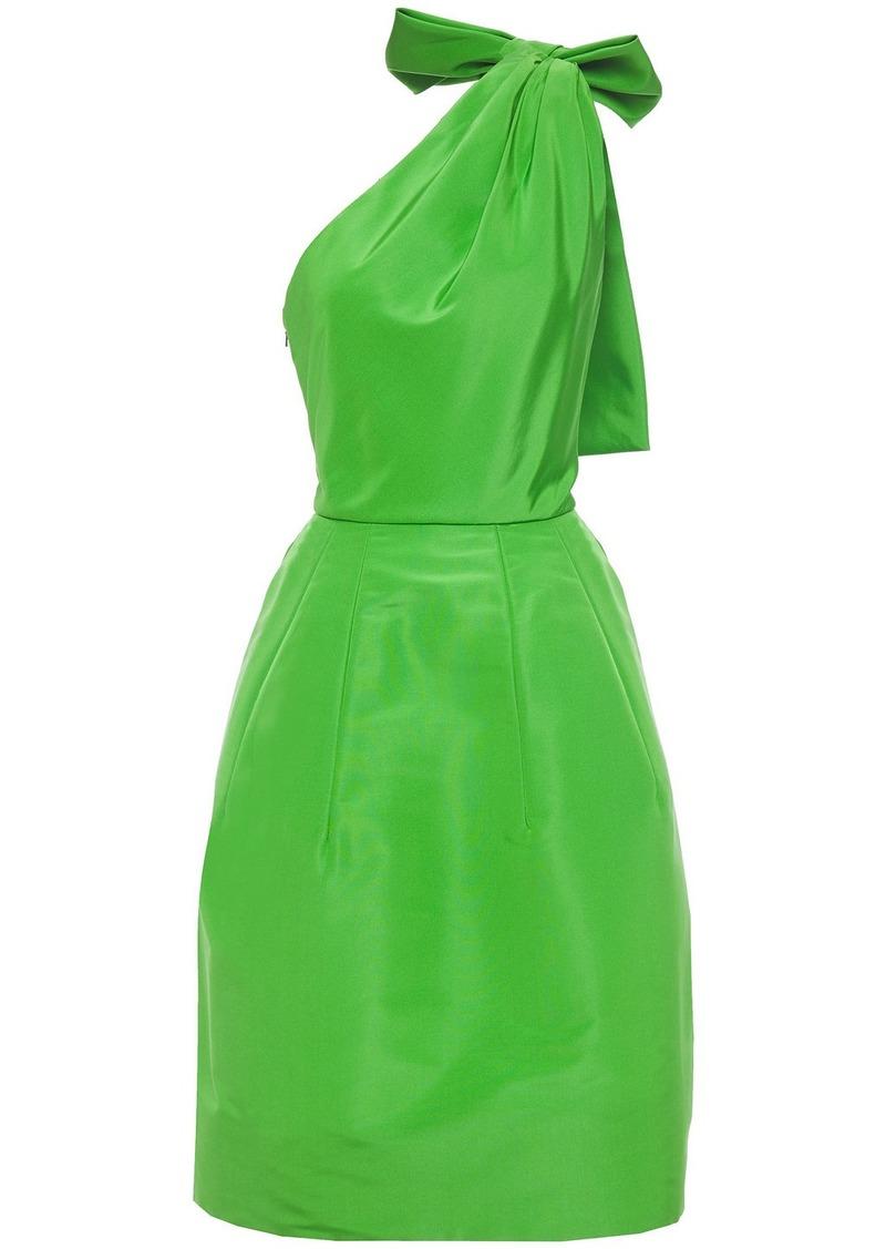 Oscar De La Renta Woman Bow-embellished Cutout Silk-taffeta Dress Green