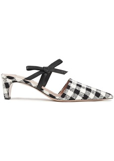 Oscar De La Renta Woman Bow-embellished Leather And Checked Tweed Mules White