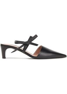 Oscar De La Renta Woman Bow-embellished Leather Mules Black