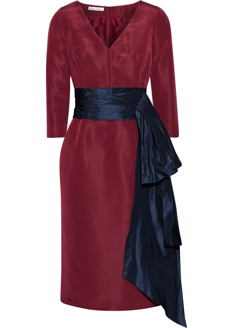 Oscar De La Renta Woman Bow-embellished Silk-faille Dress Burgundy