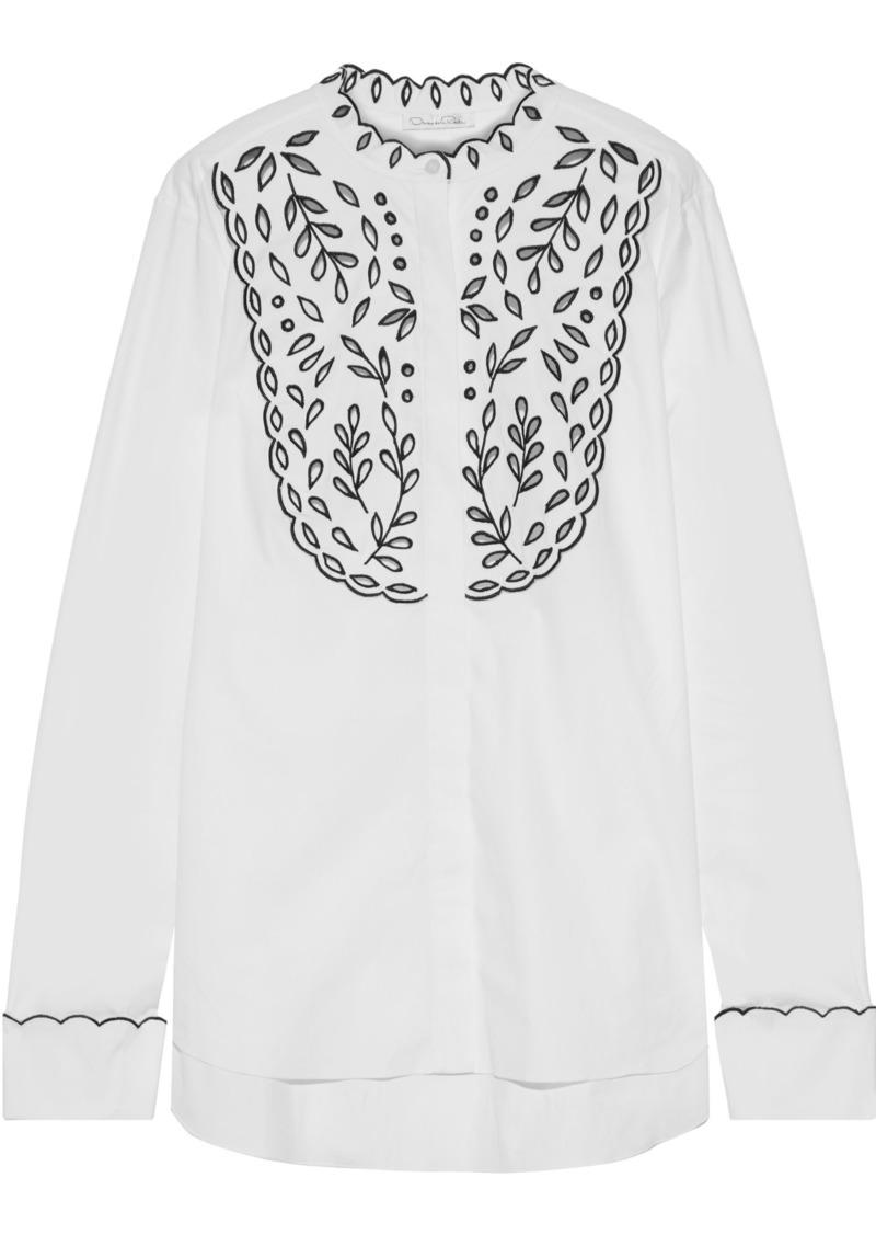 Oscar De La Renta Woman Broderie Anglaise Cotton-blend Blouse White
