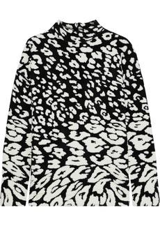 Oscar De La Renta Woman Brushed Leopard-jacquard Sweater Black