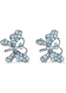 Oscar De La Renta Woman Oxidized Silver-tone Crystal Earrings Blue