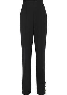 Oscar De La Renta Woman Button-detailed Wool-blend Twill Straight-leg Pants Black