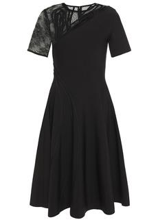 Oscar De La Renta Woman Chantilly Lace And Swiss-dot Tulle-paneled Ponte Dress Black