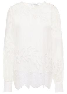 Oscar De La Renta Woman Chantilly Lace-paneled Embroidered Silk Crepe De Chine Blouse Off-white