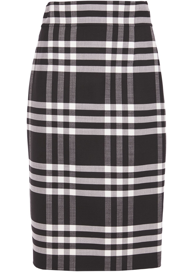 Oscar De La Renta Woman Checked Wool-blend Pencil Skirt Black