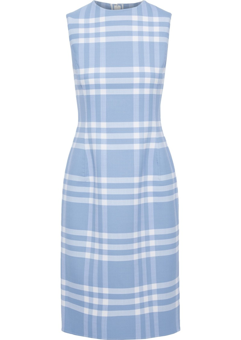 Oscar De La Renta Woman Checked Wool-blend Twill Dress Light Blue