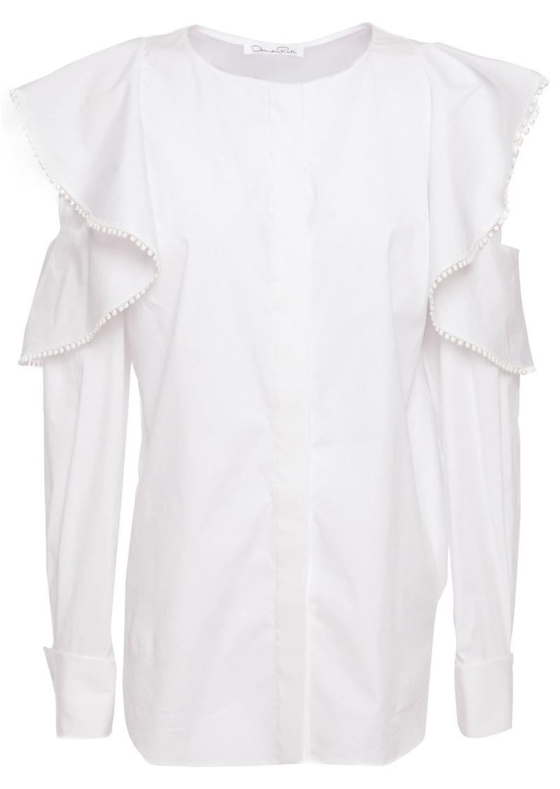Oscar De La Renta Woman Cold-shoulder Ruffle-trimmed Cotton-blend Poplin Blouse White