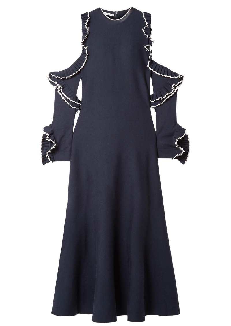Oscar De La Renta Woman Cold-shoulder Ruffled Wool Midi Dress Navy
