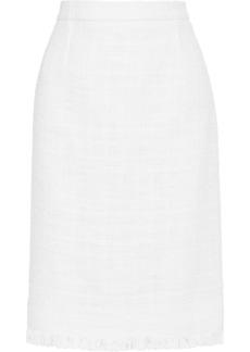 Oscar De La Renta Woman Cotton-blend Bouclé-tweed Pencil Skirt White