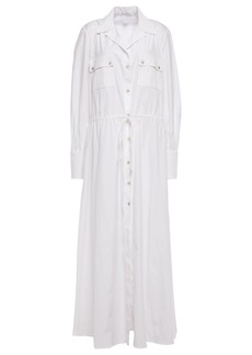 Oscar De La Renta Woman Cotton-blend Poplin Maxi Shirt Dress White