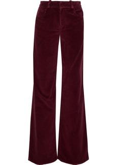 Oscar De La Renta Woman Cotton-corduroy Wide-leg Pants Plum