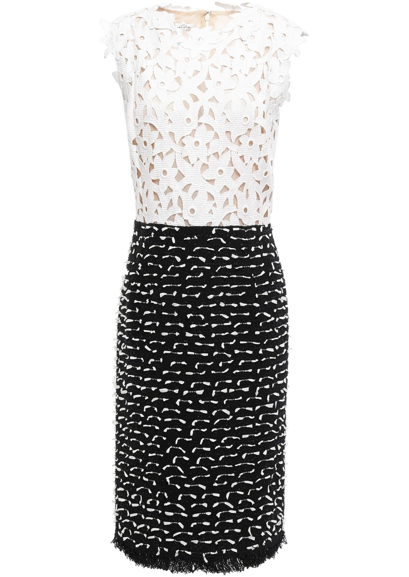 Oscar De La Renta Woman Cotton Guipure Lace And Fil Coupé Bouclé Dress White