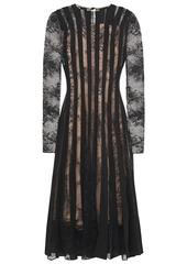 Oscar De La Renta Woman Crepe De Chine-paneled Chantilly Lace Midi Dress Black