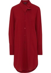 Oscar De La Renta Woman Crepe Mini Shirt Dress Brick